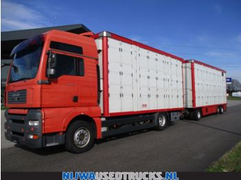 MAN TGA 18 440 XXL Triple stock + Trailer  - Tiertransporter LKW